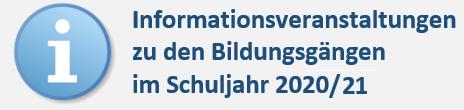 Berufsvorbereitung, Erster Allgemeinbildender und Mittlerer Schulabschluss, Fachhochschulreife und Abitur: Informationsabend  am 30.1.